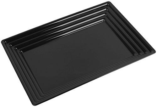 Kaya Collection - Black Plastic Serving Tray Heavyweight Rectangular Platter 11