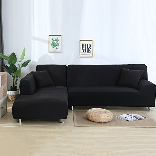 cjc Premium Quality Sectional Corner L-Shaped Sofa Cover Sofa Protector L-Shape Couch Decoration Polyester Fabric Stretch Slipcovers for Left/Right Side Sectional Sofa (L-Shape 3+4 Seats, Black)