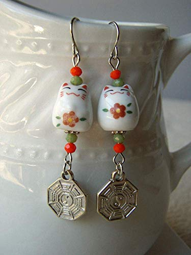Porcelain Floral Cat Earrings with Bagua Charms