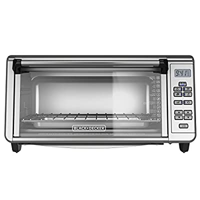 BLACK+DECKER TO3290XSD 8-Slice Digital Extra Wide Convection Countertop Toaster Oven, Includes Bake Pan, Broil Rack & Toasting Rack, Stainless Steel Digital Convection Toaster Oven