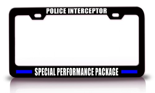 POLICE INTERCEPTOR SPECIAL PERFORMANCE PACKAGE Police Cop Steel Metal Black License Plate Frame