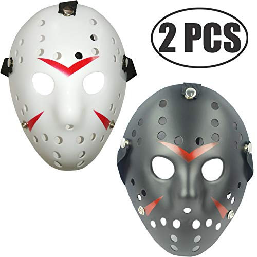 TIHOOD 2PCS Costume Jason Masks Cosplay Halloween Masquerade Party Horror Mask Christmas for Men and Adults White and Black ()
