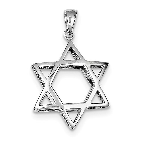 FB Jewels Solid Sterling Silver Puffed Star Of David Pendant (Puffed Silver Sterling Star)