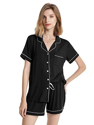 SIORO Womens Pajamas Short Sleeve Pajama Set Soft Cotton Sleepwear 2 Piece Loungewear with Pants, Black with White Piping, M