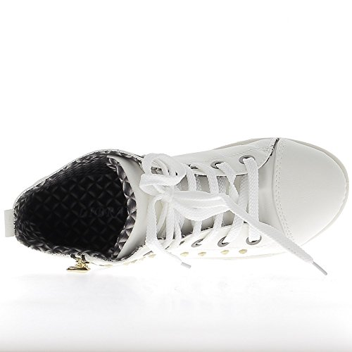 cremallera oro y Levantamiento zapatillas de de de blancas uñas wqRfxRY8a