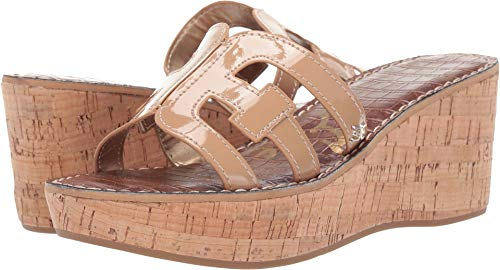 Sam Edelman Women's Regis Heeled Sandal, Almond Patent, 10.5 M US ()