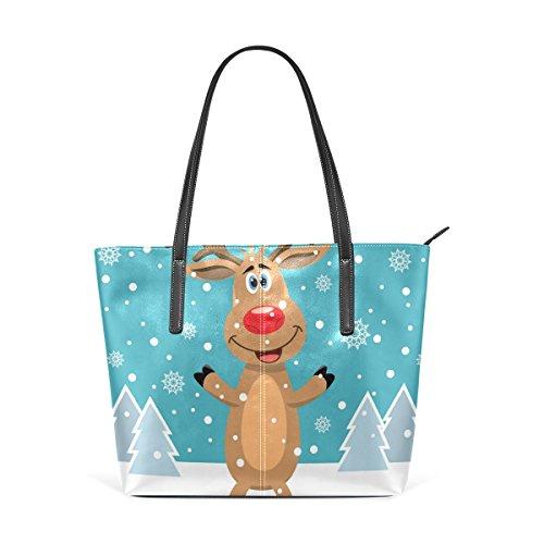 COOSUN Rudolph árboles de la nieve de la PU de cuero bolso monedero y bolsos de la bolsa de asas para las mujeres Medio muticolour