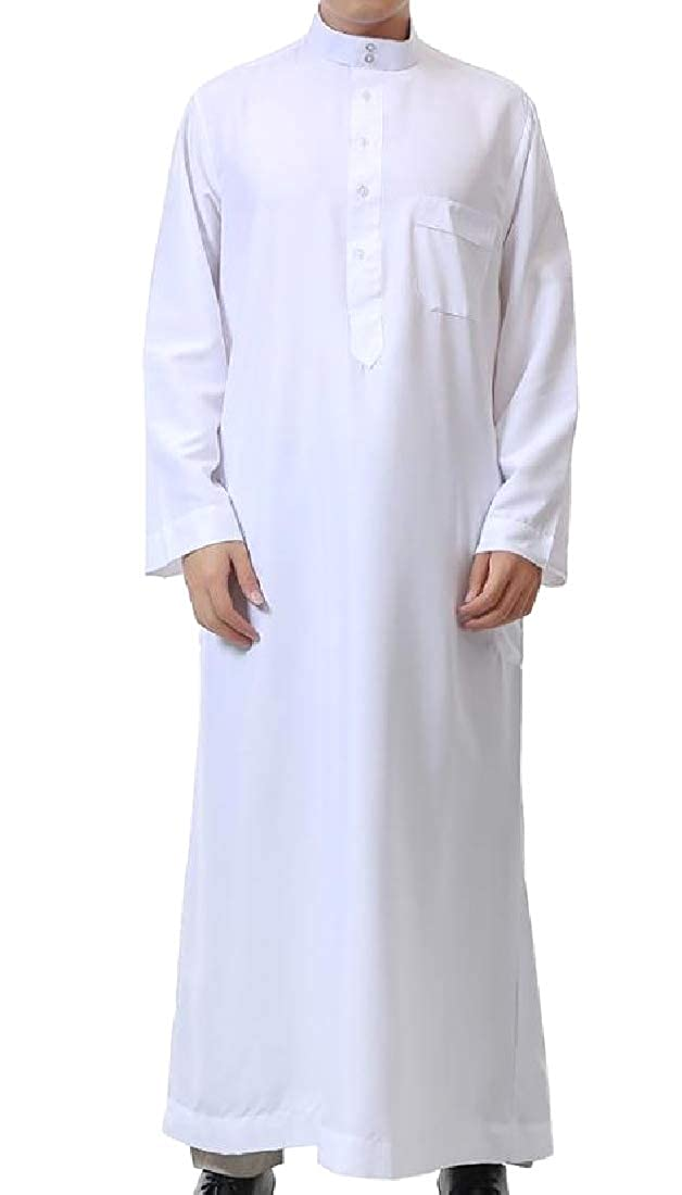 YUNY Men Muslim Abaya Pullover Long-Sleeve Pocket Trim Tees Top White L
