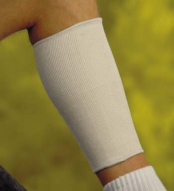 Calf Support -Large Beige knitted elastic. Tapered to fit over leg. Slips on easily. Provides compression. by King Products