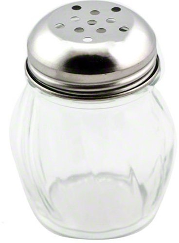 Great Credentials Grated Cheese or Red Pepper Swirl Glass Shaker (Perforated Top) ()