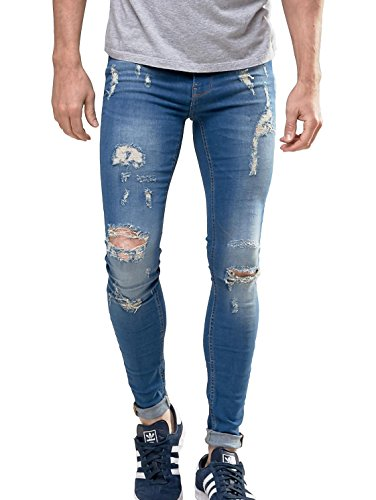 Sarriben Men's Vintage Street Style Super Skinny Fit Jeans Knees Rips and Repair Blue 34