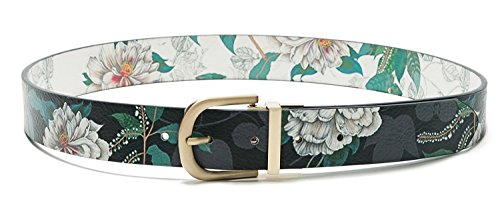 Desigual Women's Floral Black White Reversible Belt Troy Belt 85CM