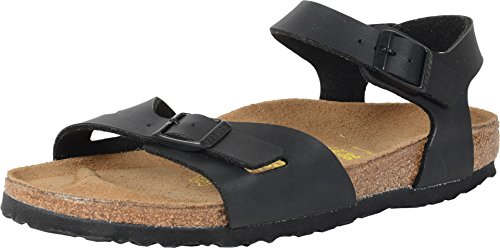 (Birkenstock Womens Rio Sandals, Black, EU 37 Regular Fit)