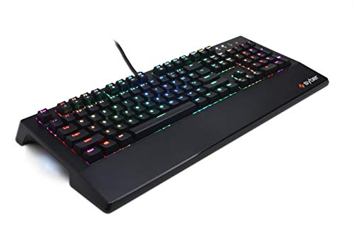 CyberpowerPC Syber SK100 RGB 104 Mechanical Gaming Keyboard (Individually Backlit Keys, Kontact Blue Mechanical Switches, Programmable Macro Keys and Built in Wrist Support), Black