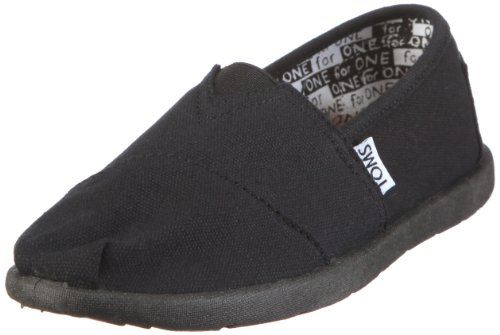 Toms Summer Classics Youth Shoes In Black Canvas size 1
