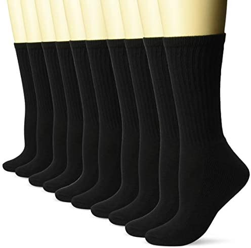 Amazon Essentials Women's 10-Pack Cotton Lightly Cushioned Crew Socks