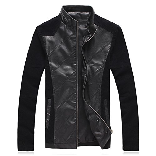 Stile Jackets Sleeve Zhuhaitf Long Slim Black Windbreaker Outerwear Leather Faux Mens Casual Fit FxfBq