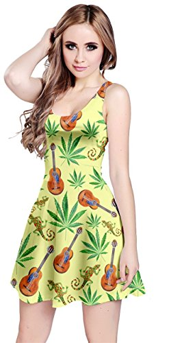 CowCow Womens Marijuana Aloha Leaves Sleeveless Dress, Green - XL