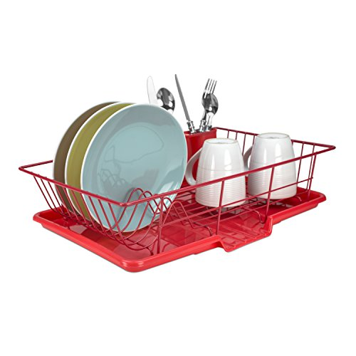 Home Basics 3-Piece Dish Drainer Set, Red