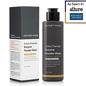 MOTHER MADE Active Charcoal Enzyme Powder Face Wash & Scrub, 55 Grams - Daily Cleanser Ideal for Oily, Acne, Clogged Pores, Breakouts – Gently Exfoliates, Unclogs, Oil-Free, Paraben-Free, Natural