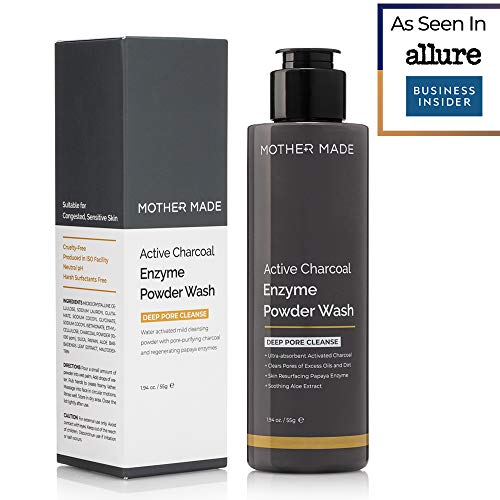 MOTHER MADE Active Charcoal Enzyme Powder Face Cleansing Wash, Pore Minimizing Gentle Exfoliation Soothing Non-Drying, Sulfate-Free Paraben-Free Unscented, for Sensitive Dry Oily Skin, 110 Single Uses