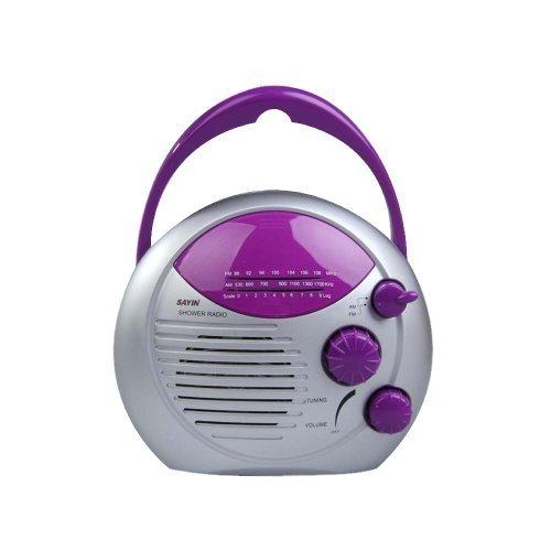 UPC 522241113160, Vktech Purple Silver AM FM Shower Radio Bathroom Waterproof Hanging Music Radio