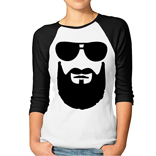 DonSir Cool Beard Sunglasses Women Round Collar Raglan Tshirt Black - Promo Sunglasses