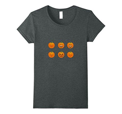 Lady Costume Bingo Halloween (Womens Funny Halloween Pumpkin Emoticon Shirt XL Dark)