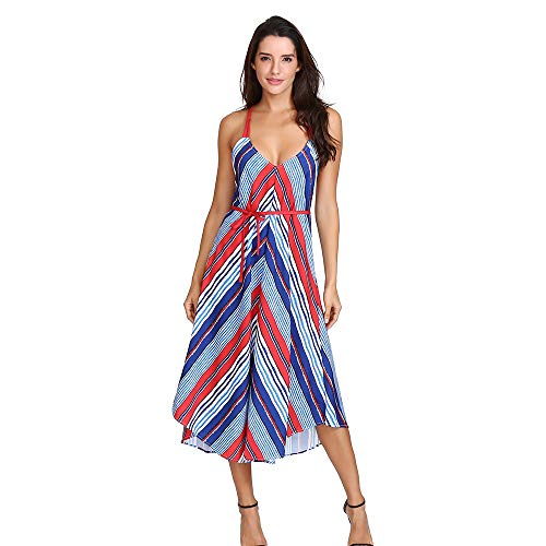 DEATU Hot Sale! Women Dress Ladies Casual Sexy Chic Pretty Striped Printing Bandage Dress Long Maxi Dress(Multicolo,S)