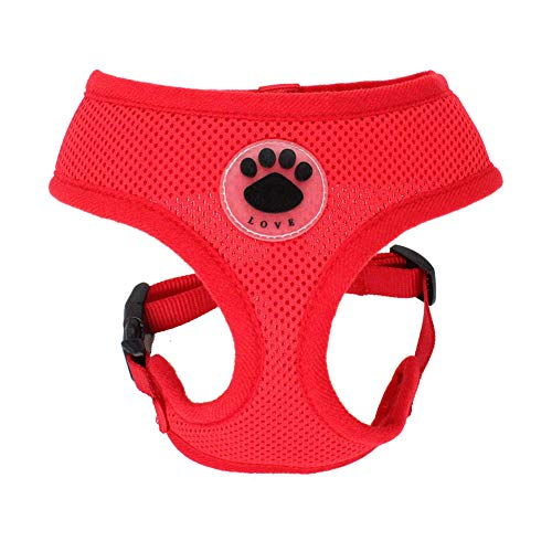 WONDERPUP Soft Mesh Dog Harness No Pull Walking Comfort Padded Vest Harnesses Adjustable (XS, Red)