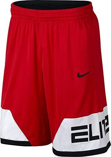 Nike Men's Dry Elite Block Basketball Shorts (Univrsty Rd/Wte/Blck, Medium)