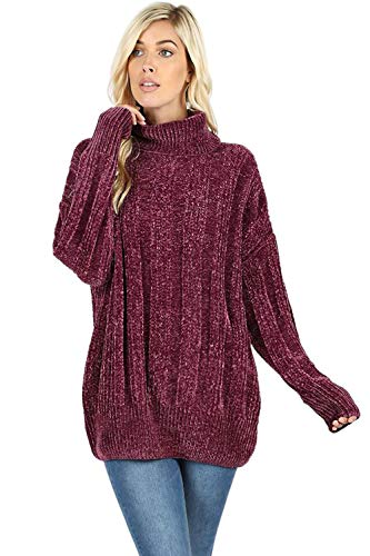 Sweaters for Women Turtle Cowl Neck Vertical Stripe Velvet Yarn Long Sleeve Sweater-Plum (Medium) ()