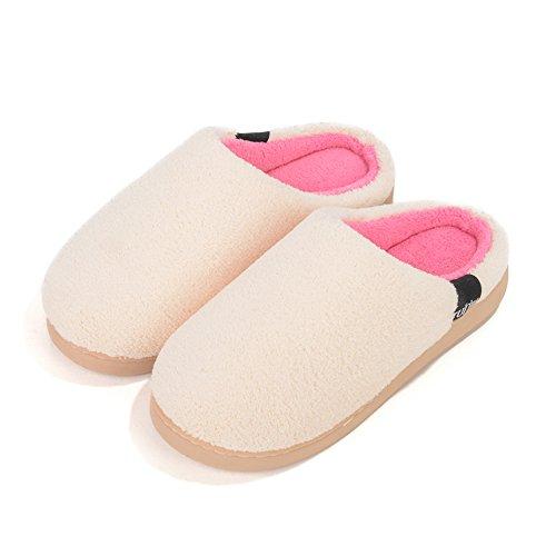 Para Mujer Zapatillas Damas Interior Plana Tacón Bajo Invierno Zapatillas Terciopelo Coral Beige