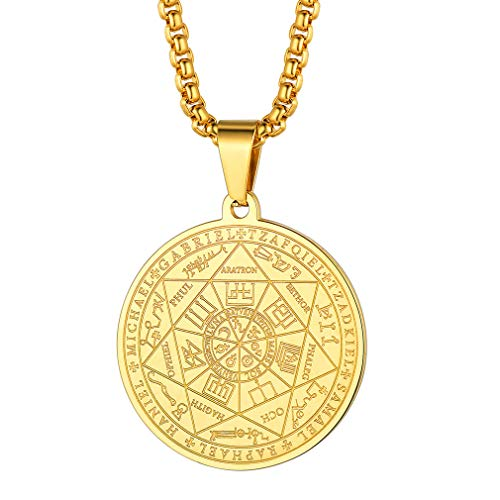 FaithHeart The Seal of The Seven Archangels Pendant Necklace, Gold Plated Blessings Jewelry, 7 Archangels Weekly Protection Medals Customize Available (Send Gift Box)