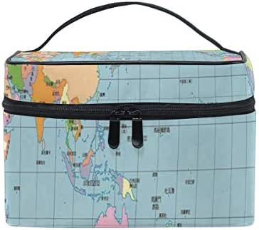 Toiletry Bag Multifunction Cosmetic Bag A PACIFIC CENTERED WORLD MAP Portable Makeup Pouch Waterproof Travel Organizer Bags For Women Girls Beauty