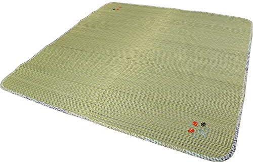 さらさら肌触りのい草ラグ かわいい金魚刺繍入り グリーン色 176x230cm(3畳用) 【不織布貼】