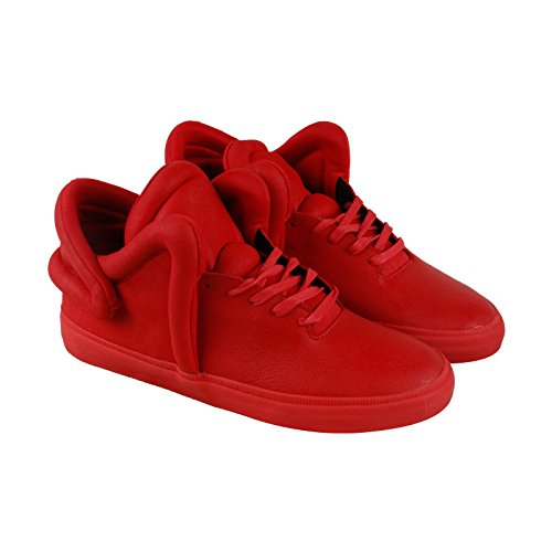 Supra Falcon Mens Red Leather High Top Lace Up Sneakers Shoes 9