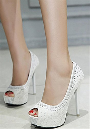 Heel White Girl's Toe Thin HETAO Pumps Mouth Personality Gift High Women's Dress Fish Rhinestone Peep Heels xZwIqH