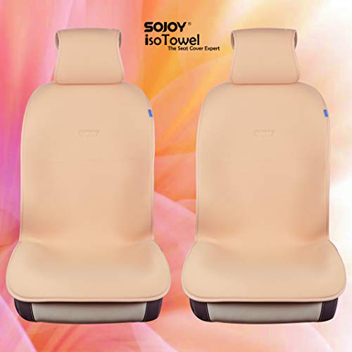 Sojoy IsoTowel Universal Breathable Isothermal Car Seat Cover Cushion for Front 2 Seats Size Large (Tan and Cream)