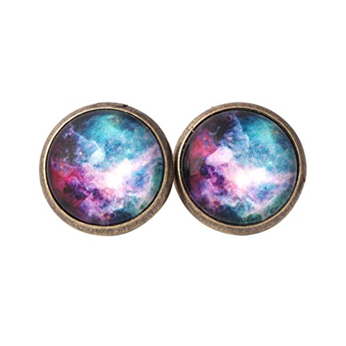 Colored Jewel - Willsa New Fashion Starlit Noctilucan Earrings Jewel Ear Colored Hemisphere Ear Stud (D)