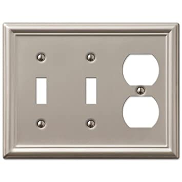 decorative wall switch outlet cover plates brushed nickel 2 toggle 1 duplex - Decorative Switch Plates