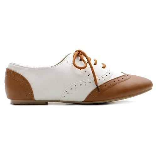 Oxford Women's Ollio Dress Heel Shoe white Lace Brown Classic Flat Up Low FOqzO1x