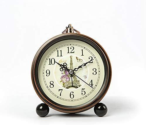 レトロヴィンテージ小さな学生ベッドサイドテーブル目覚まし時計超大音量スヌーズウェイクアップ目覚まし時計ユニークなリビングルームの装飾