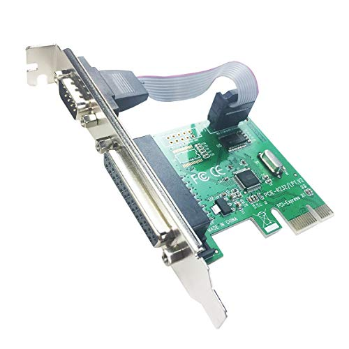 GLOTRENDS PCIE to 1 Port Serial RS232 + 1 DB25 LPT Parallel Expansion Card with Low-Profile Bracket(PCI-E IS1P)