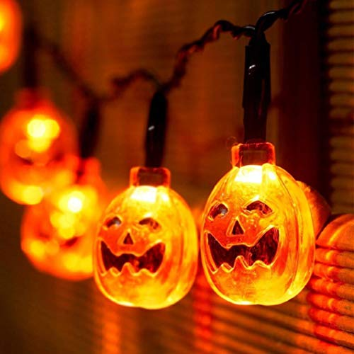 Glumes Halloween Decorations String Lights, 20 LED Waterproof Cute Pumpkin LED Holiday Lights for Outdoor Decor, 2 Modes Steady/Flickering Lights 7.2ft-American Warehouse Shipment (Yellow)