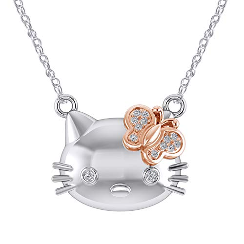 Pretty Jewels Sterling Silver 925 Two Tone Over Round 0.05ct Natural Diamond Hello Kitty Pendant, 18