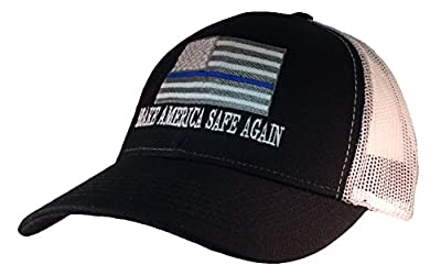 Thin Blue Line American Flag Make America Safe Again Embroidered Trucker Mesh Hat-Black with White Mesh