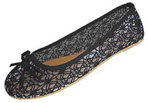 Shoes 18 Womens Canvas Ballerina Ballet Flats Shoes (11, Black 5060)