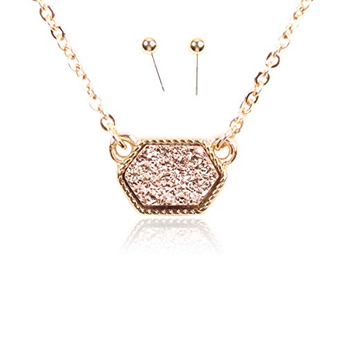 RIAH FASHION Acrylic Faux Druzy Jewel Stone Hexagon Oval Pendant Necklace - Delicate Chain/Sparkly Crystal Beaded Strand (Hexagon Chain - Champagne)
