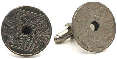 Gemelos moneda auténtica España 50 centimos ancla: Amazon.es: Joyería